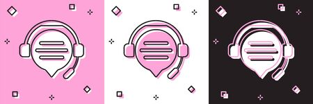 Set Headphones with speech bubble chat icon isolated on pink and white, black background. Support customer service, hotline, call center, faq, maintenance. Vector Illustration Illustration