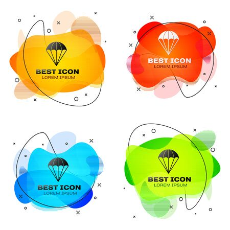Black Parachute icon isolated on white background. Set abstract banner with liquid shapes. Vector Illustration