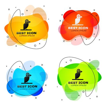 Black Pirate parrot icon isolated on white background. Set abstract banner with liquid shapes. Vector Illustration