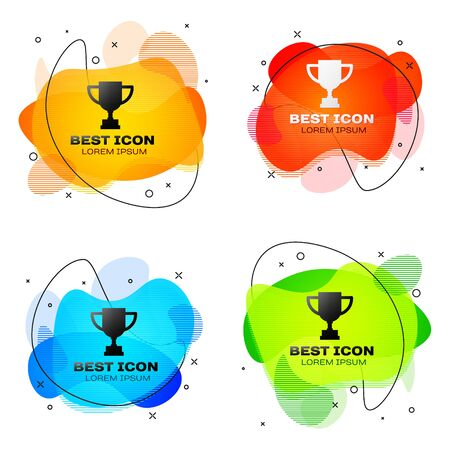 Black Award cup icon isolated on white background. Winner trophy symbol. Championship or competition trophy. Sports achievement. Set abstract banner with liquid shapes. Vector Illustration