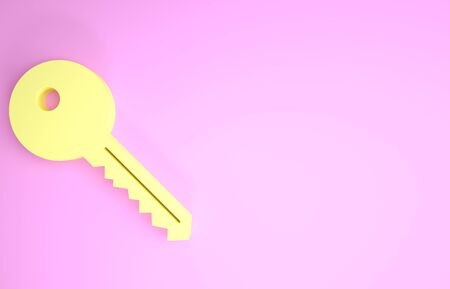 Yellow Key icon isolated on pink background. Minimalism concept. 3d illustration 3D render