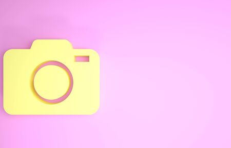 Yellow Photo camera icon isolated on pink background. Foto camera icon. Minimalism concept. 3d illustration 3D render Stock fotó