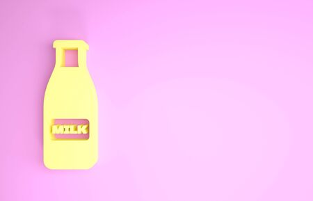 Yellow Closed glass bottle with milk and cap icon isolated on pink background. Minimalism concept. 3d illustration 3D render