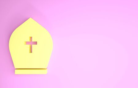 Yellow Pope hat icon isolated on pink background. Christian hat sign. Minimalism concept. 3d illustration 3D render