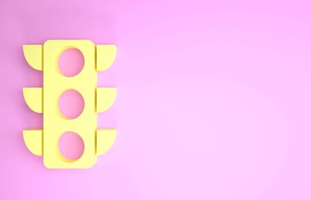 Yellow Traffic light icon isolated on pink background. Minimalism concept. 3d illustration 3D render Фото со стока