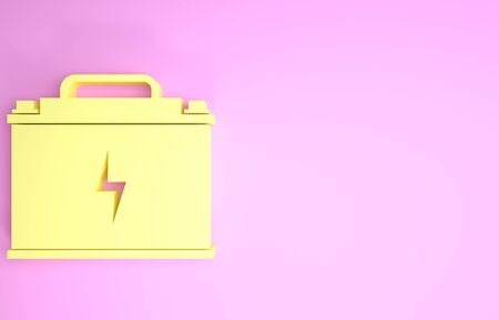 Yellow Car battery icon isolated on pink background. Accumulator battery energy power and electricity accumulator battery. Lightning bolt. Minimalism concept. 3d illustration 3D render Фото со стока