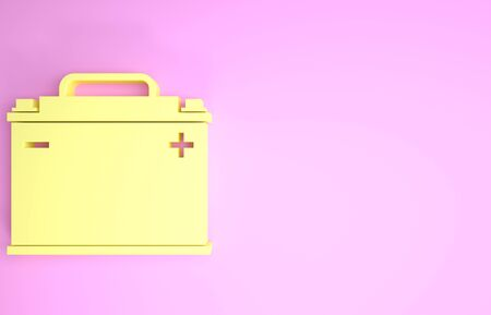 Yellow Car battery icon isolated on pink background. Accumulator battery energy power and electricity accumulator battery. Minimalism concept. 3d illustration 3D render