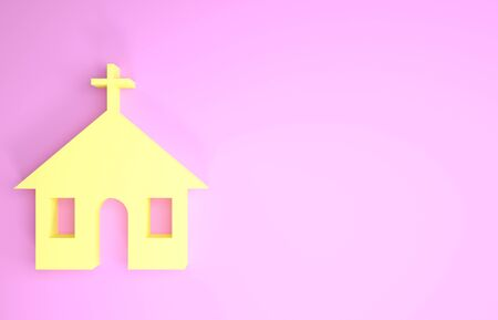 Yellow Church building icon isolated on pink background. Christian Church. Religion of church. Minimalism concept. 3d illustration 3D render