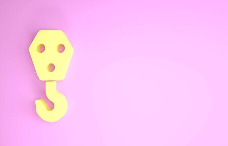 Yellow Industrial hook icon isolated on pink background. Crane hook icon. Minimalism concept. 3d illustration 3D render Standard-Bild - 134574266