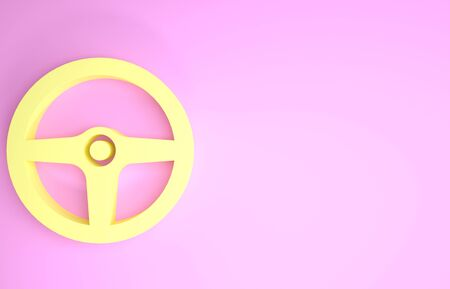 Yellow Steering wheel icon isolated on pink background. Car wheel icon. Minimalism concept. 3d illustration 3D render