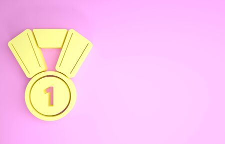 Yellow Medal icon isolated on pink background. Winner symbol. Minimalism concept. 3d illustration 3D render