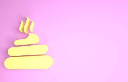 Yellow Shit icon isolated on pink background. Minimalism concept. 3d illustration 3D render