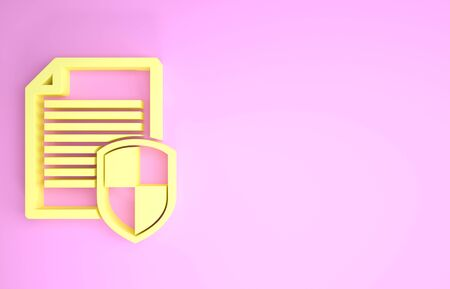 Yellow Document protection concept icon isolated on pink background. Confidential information and privacy idea, secure, guard, shield. Minimalism concept. 3d illustration 3D render Stock fotó - 134581742