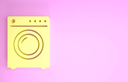 Yellow Washer icon isolated on pink background. Washing machine icon. Clothes washer - laundry machine. Home appliance symbol. Minimalism concept. 3d illustration 3D render