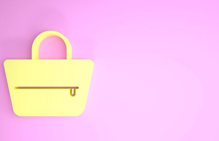 Yellow Handbag icon isolated on pink background. Female handbag sign. Glamour casual baggage symbol. Minimalism concept. 3d illustration 3D render Stok Fotoğraf