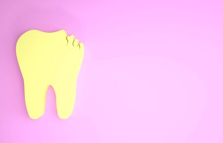 Yellow Broken tooth icon isolated on pink background. Dental problem icon. Dental care symbol. Minimalism concept. 3d illustration 3D render
