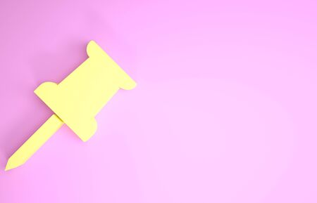 Yellow Push pin icon isolated on pink background. Thumbtacks sign. Minimalism concept. 3d illustration 3D render