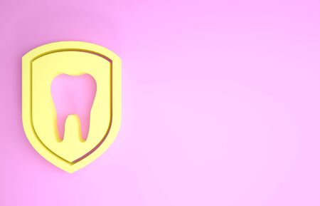 Yellow Dental protection icon isolated on pink background. Tooth on shield logo icon. Minimalism concept. 3d illustration 3D render