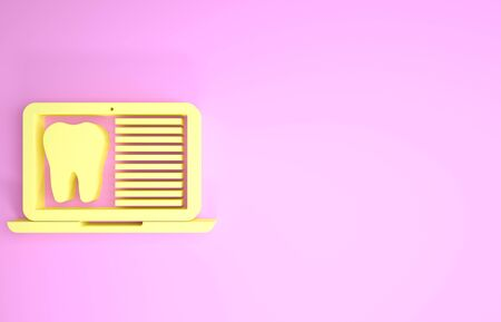 Yellow Laptop with dental card or patient medical records icon isolated on pink background. Dental insurance. Dental clinic report. Minimalism concept. 3d illustration 3D render Stock fotó