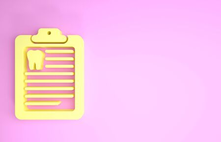 Yellow Clipboard with dental card or patient medical records icon isolated on pink background. Dental insurance. Dental clinic report. Minimalism concept. 3d illustration 3D render