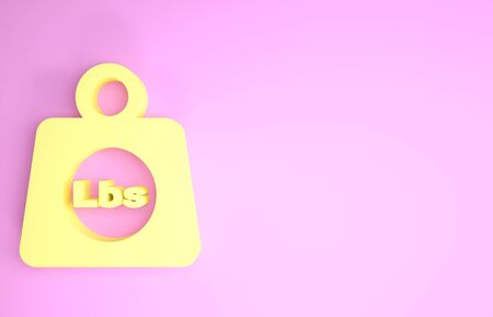 Yellow Weight pounds icon isolated on pink background. Pounds weight block for weight lifting and scale. Mass symbol. Minimalism concept. 3d illustration 3D render
