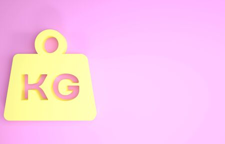 Yellow Weight icon isolated on pink background. Kilogram weight block for weight lifting and scale. Mass symbol. Minimalism concept. 3d illustration 3D render