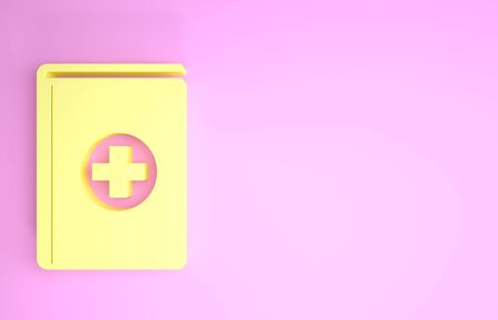 Yellow Medical book icon isolated on pink background. Minimalism concept. 3d illustration 3D render Stock fotó