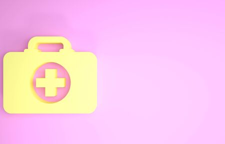 Yellow First aid kit icon isolated on pink background. Medical box with cross. Medical equipment for emergency. Healthcare concept. Minimalism concept. 3d illustration 3D render Zdjęcie Seryjne - 134574662