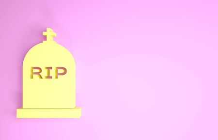 Yellow Tombstone with RIP written on it icon isolated on pink background. Grave icon. Minimalism concept. 3d illustration 3D render