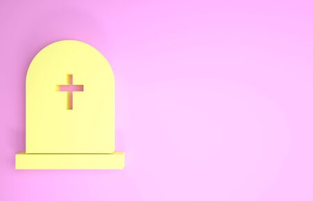 Yellow Tombstone with cross icon isolated on pink background. Grave icon. Minimalism concept. 3d illustration 3D render