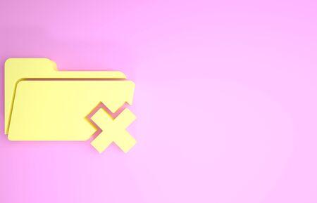 Yellow Delete folder icon isolated on pink background. Folder with recycle bin. Delete or error folder. Close computer information folder. Minimalism concept. 3d illustration 3D render