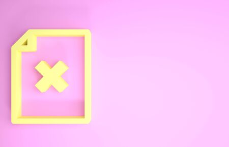 Yellow Delete file document icon isolated on pink background. Rejected document icon. Cross on paper. Minimalism concept. 3d illustration 3D render Фото со стока