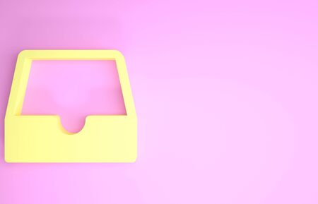 Yellow Social media inbox icon isolated on pink background. Social network element, symbol. Minimalism concept. 3d illustration 3D render