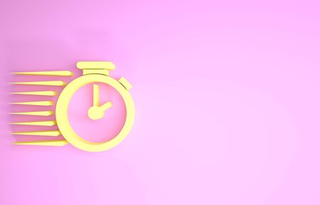 Yellow Stopwatch icon isolated on pink background. Time timer sign. Minimalism concept. 3d illustration 3D render Stock Photo