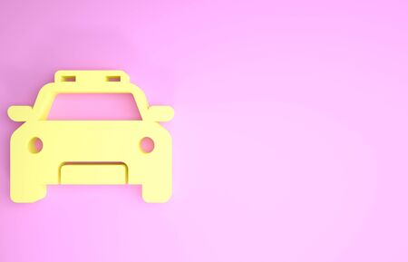 Yellow Police car and police flasher icon isolated on pink background. Emergency flashing siren. Minimalism concept. 3d illustration 3D render 写真素材