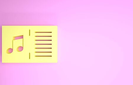 Yellow Music book with note icon isolated on pink background. Music sheet with note stave. Notebook for musical notes. Minimalism concept. 3d illustration 3D render Foto de archivo - 134574902