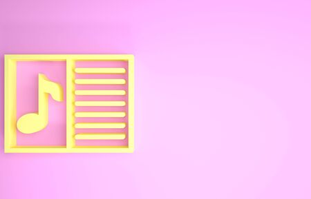 Yellow Music book with note icon isolated on pink background. Music sheet with note stave. Notebook for musical notes. Minimalism concept. 3d illustration 3D render Foto de archivo - 134575229