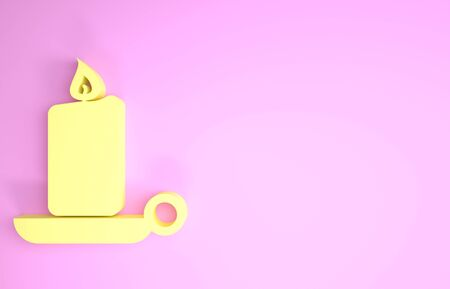 Yellow Burning candle in candlestick icon isolated on pink background. Old fashioned lit candle. Cylindrical candle stick with burning flame. Minimalism concept. 3d illustration 3D render