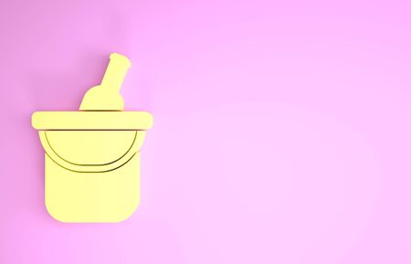 Yellow Bottle of wine in an ice bucket icon isolated on pink background. Minimalism concept. 3d illustration 3D render