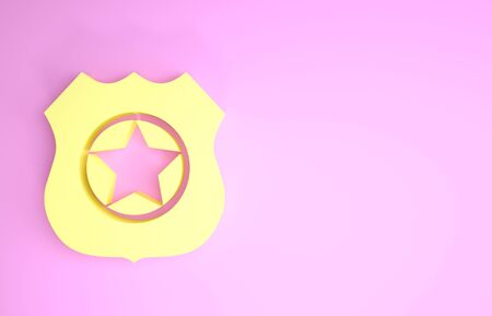 Yellow Police badge icon isolated on pink background. Sheriff badge sign. Minimalism concept. 3d illustration 3D render 写真素材