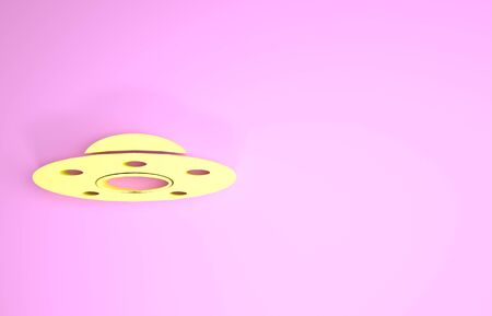 Yellow UFO flying spaceship icon isolated on pink background. Flying saucer. Alien space ship. Futuristic unknown flying object. Minimalism concept. 3d illustration 3D render 版權商用圖片