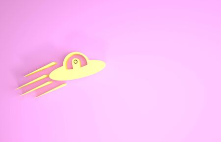 Yellow UFO flying spaceship and alien icon isolated on pink background. Flying saucer. Alien space ship. Futuristic unknown flying object. Minimalism concept. 3d illustration 3D render
