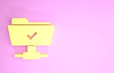 Yellow FTP operation successful icon isolated on pink background. Software update, transfer protocol, teamwork tool management, copy process. Minimalism concept. 3d illustration 3D render Reklamní fotografie