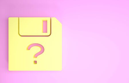 Yellow Unknown document icon isolated on pink background. File with Question mark. Hold report, service and global search sign. Minimalism concept. 3d illustration 3D render