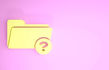 Yellow Unknown directory icon isolated on pink background. Magnifying glass and folder. Minimalism concept. 3d illustration 3D render