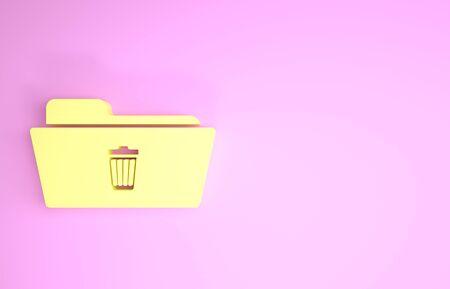 Yellow Delete folder icon isolated on pink background. Folder with recycle bin. Delete or error folder. Close computer information folder sign. Minimalism concept. 3d illustration 3D render