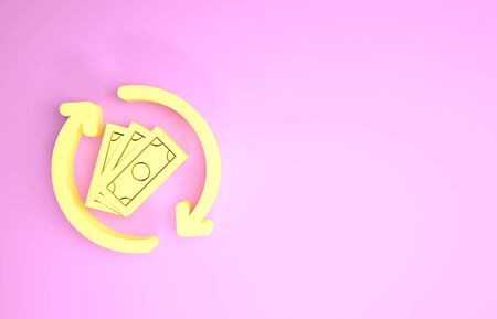 Yellow Refund money icon isolated on pink background. Financial services, cash back concept, money refund, return on investment, savings account. Minimalism concept. 3d illustration 3D render Фото со стока