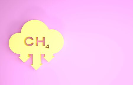 Yellow Methane emissions reduction icon isolated on pink background. CH4 molecule model and chemical formula. Marsh gas. Natural gas. Minimalism concept. 3d illustration 3D render