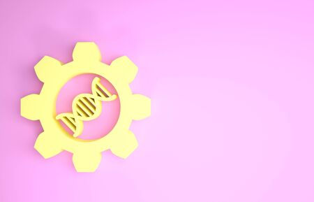 Yellow Genetic engineering icon isolated on pink background. DNA analysis, genetics testing, cloning, paternity testing. Minimalism concept. 3d illustration 3D render Stock fotó