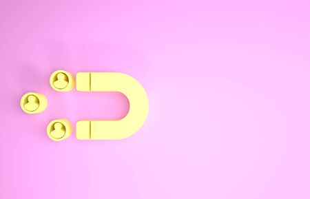 Yellow Customer attracting icon isolated on pink background. Customer retention, support and service. Customer people attracting with magnet. Minimalism concept. 3d illustration 3D render